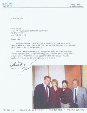 Letter from Dave Pelzer and photo taken at or 2002 conference