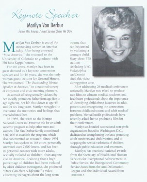 Marilyn Van Derbur former Miss America & speaker at our 2000 conference